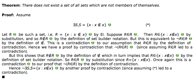 Proof of Russell's Theorem in Lurch, in an informal style